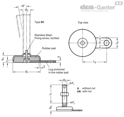GN 33-U/UK - Pied de machine (INOX - M16 > M24) on