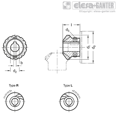 GN 297 - Bevel gear wheels, with spiral bevel for linear