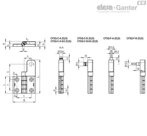 CFSQ - Scharnier met elektrisch veiligheidscontact
